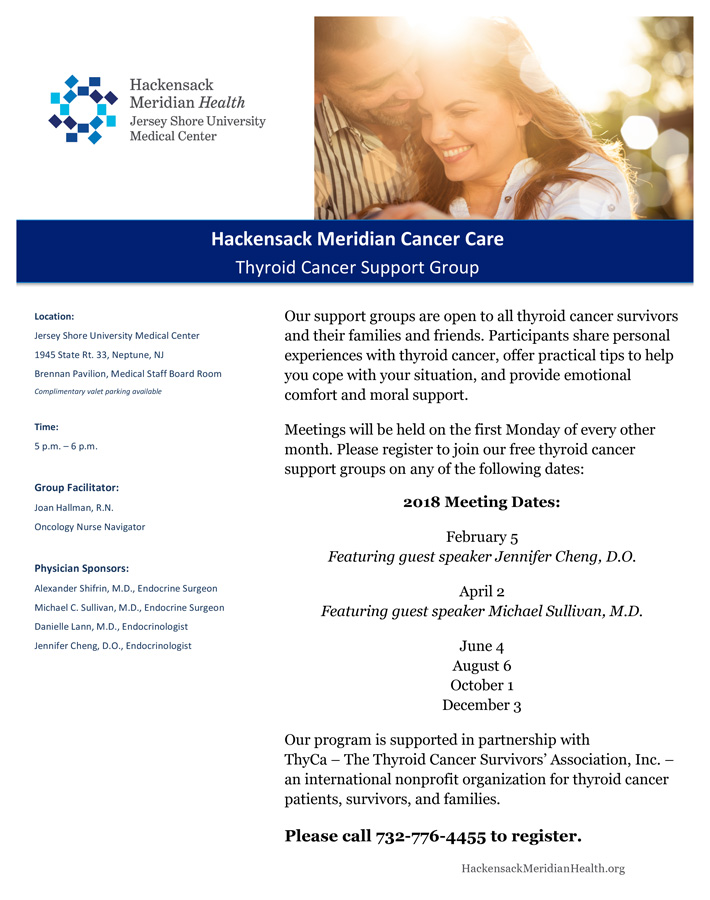 2018 Thyroid Cancer Support Group Meeting Dates